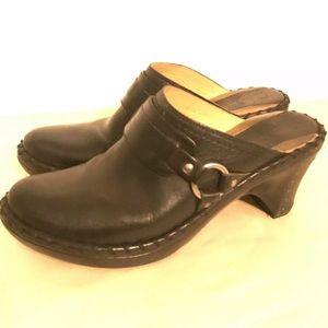 Frye Black Belted Harness Heeled Mule Black Size 8